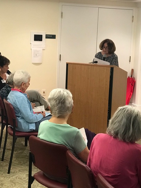Alice Donisi-Feehan briefing residents at LaSalle Village about 2018 ballot questions.