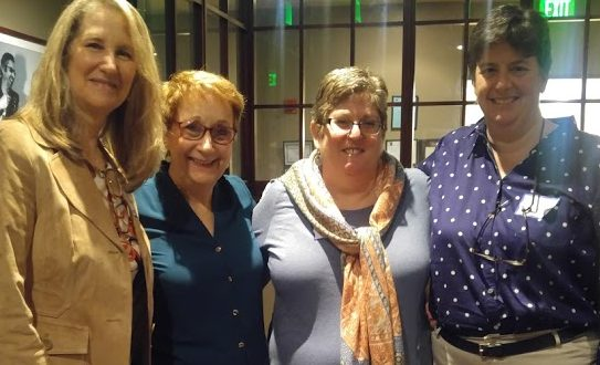 Photo of Incoming Vice President Ellen Grody, incoming President Marcia Johnson, outgoing President Sue Flicop and outgoing Vice President Lisa Mirabile at LWVN Annual Meeting 2019