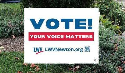 Vote! Your Voice Matters lawn sign