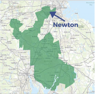 Map of the Massachusetts Fourth Congressional Distrrict
